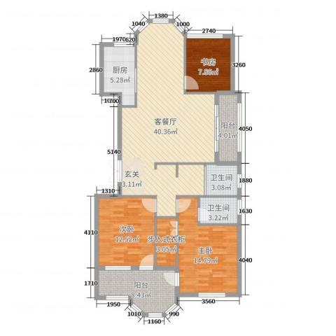 米兰花园3室2厅2卫1厨126.00㎡户型图