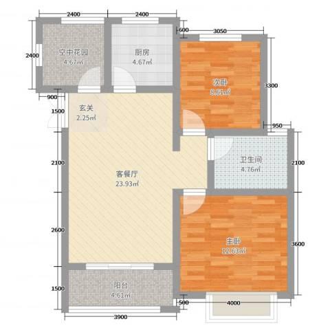 冠景・凯旋门2室2厅1卫1厨93.00㎡户型图