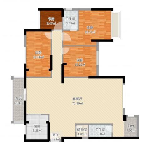 连城别苑4室2厅2卫1厨180.00㎡户型图