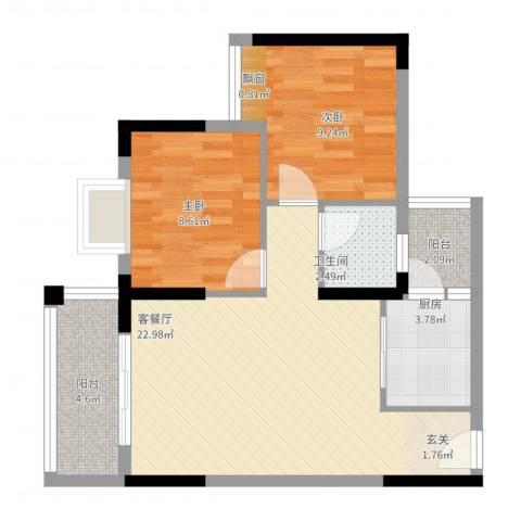 合和人家2室2厅1卫1厨78.00㎡户型图