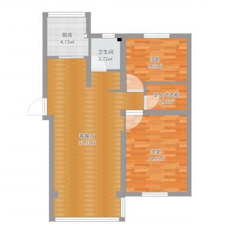 天乐小区2室2厅1卫1厨82.00㎡户型图