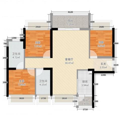 TCL康城四季3室2厅2卫1厨99.00㎡户型图
