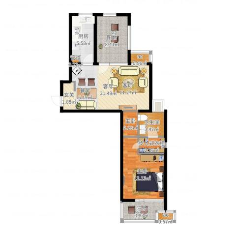 东外滩1号1室1厅1卫1厨76.00㎡户型图