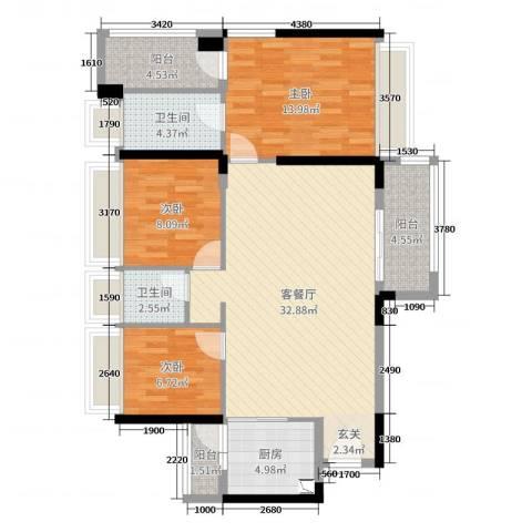 TCL康城四季3室2厅2卫1厨112.00㎡户型图
