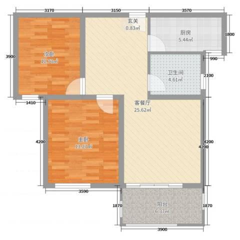 新河湾2室2厅1卫1厨87.00㎡户型图
