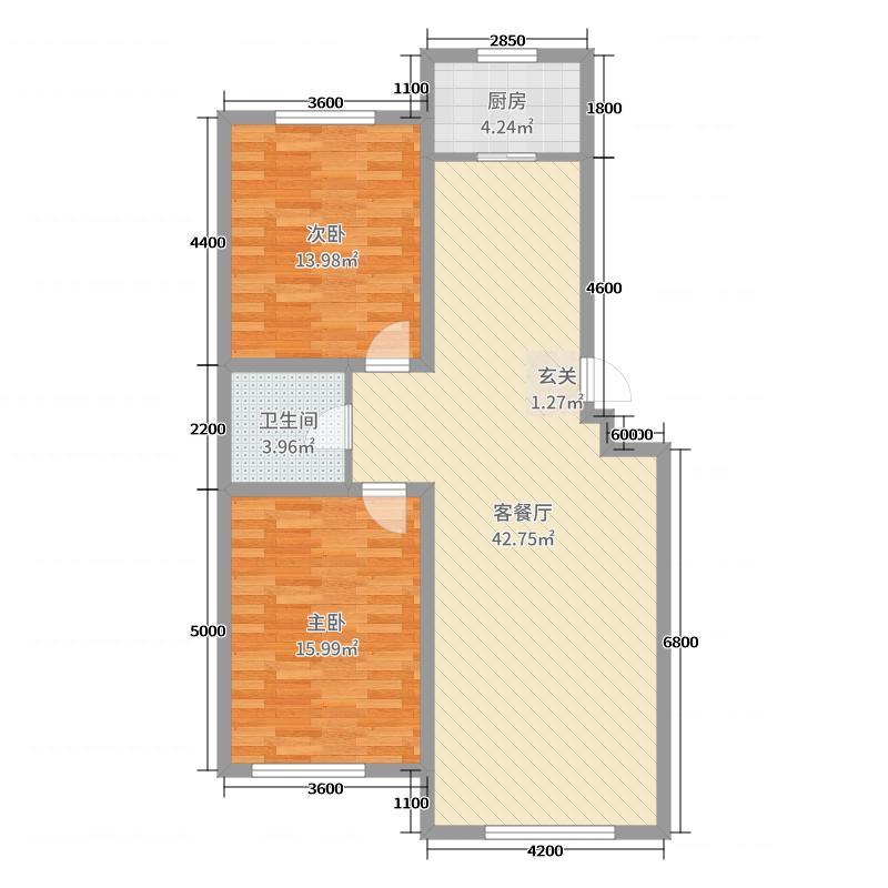 银泰活力城102.90㎡二居户型2室2厅1卫1厨