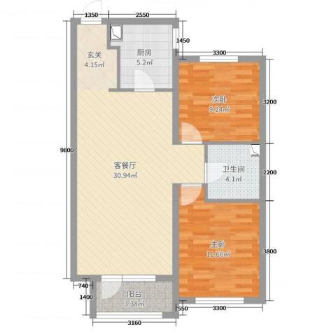 华润凯旋门2室2厅1卫1厨90.00㎡户型图