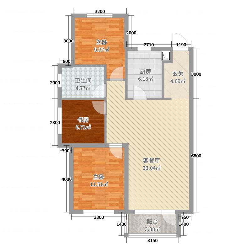 华润凯旋门110.00㎡F户型3室3厅1卫1厨