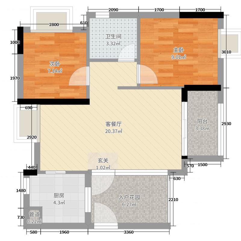 北江明珠71.00㎡8座03单元户型2室2厅1卫1厨
