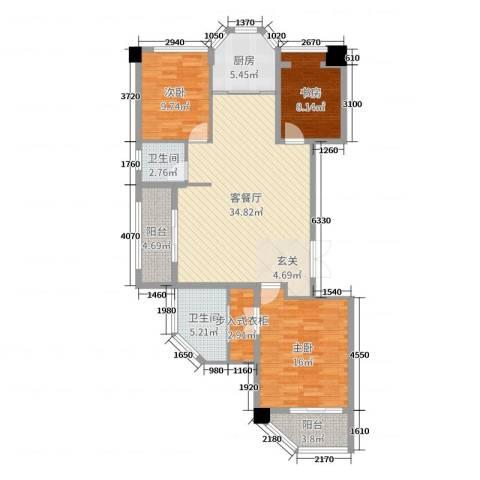 米兰花园3室2厅2卫1厨117.00㎡户型图