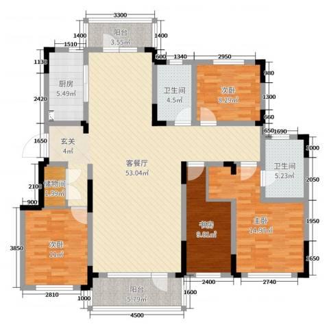 华润凯旋门4室2厅2卫1厨155.00㎡户型图