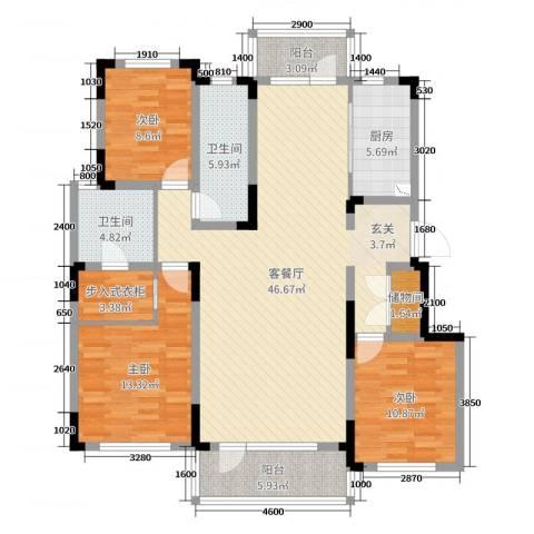 华润凯旋门3室2厅2卫1厨137.00㎡户型图