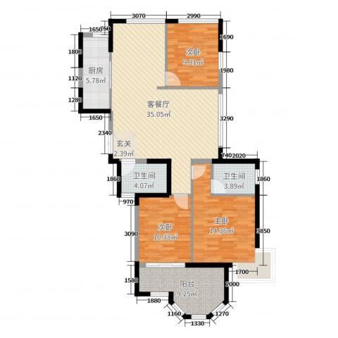 米兰花园3室2厅2卫1厨118.00㎡户型图