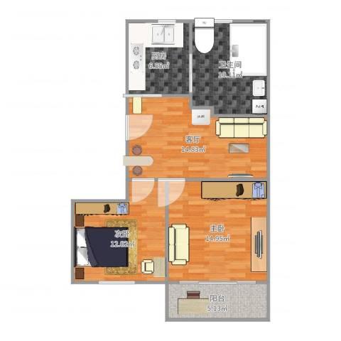 由由六村2室1厅1卫1厨79.00㎡户型图