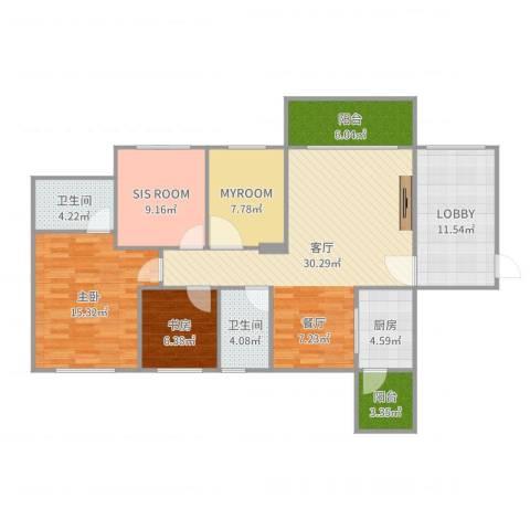 龙光海悦华庭2室1厅2卫1厨128.00㎡户型图