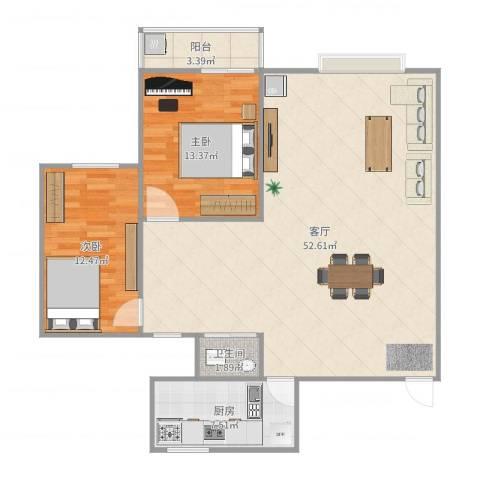 红花坡社区2室1厅1卫1厨114.00㎡户型图