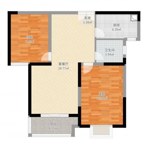 宏润花园2室2厅1卫1厨90.00㎡户型图