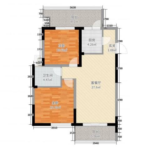 民福苑三期荷风苑2室2厅1卫1厨93.00㎡户型图