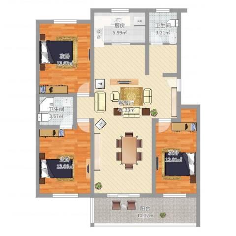 活力康城3室2厅2卫1厨147.00㎡户型图