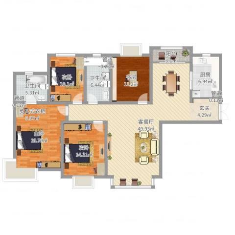 天庆格林小镇4室2厅2卫1厨159.00㎡户型图