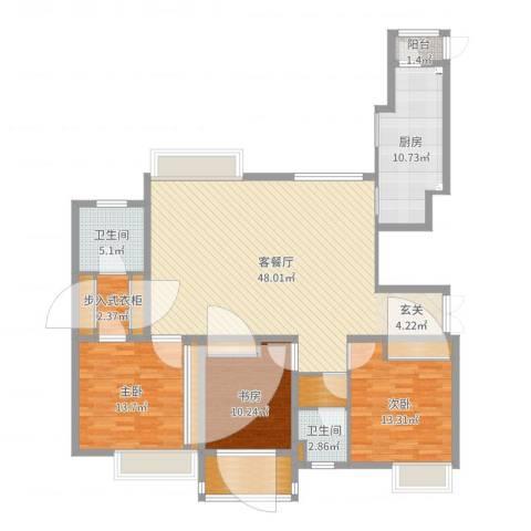 金广东海岸3室2厅2卫1厨148.00㎡户型图