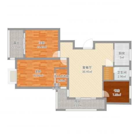 惠金佳园3室2厅1卫1厨118.00㎡户型图
