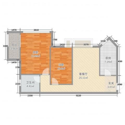 金岸领寓2室2厅1卫1厨80.00㎡户型图