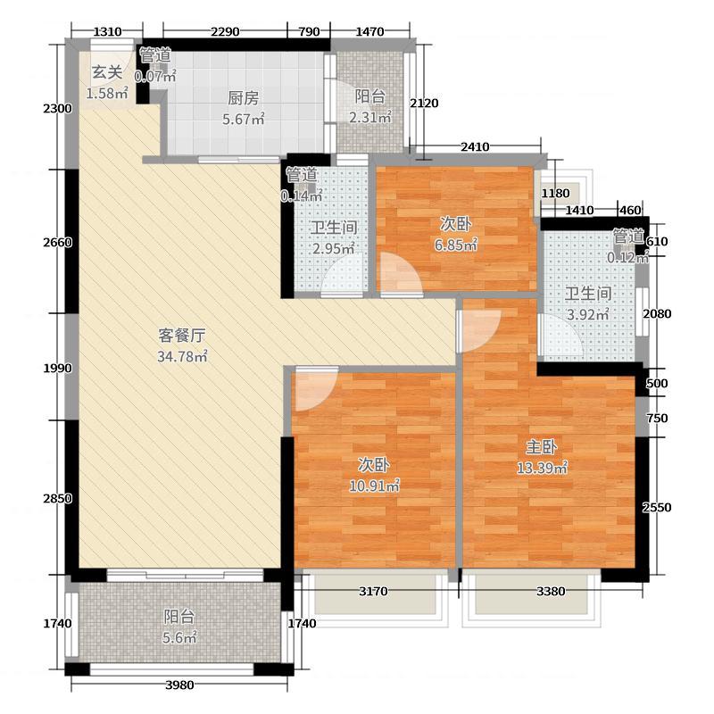 东方润园111.00㎡B户型3室3厅2卫1厨