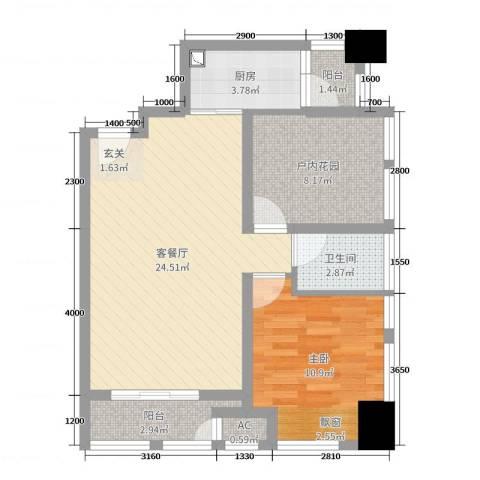 天祺佰潮汇1室2厅1卫1厨76.00㎡户型图
