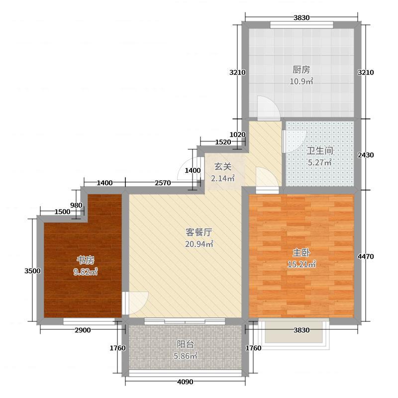 昊和沁园85.00㎡29#户型2室2厅1卫1厨