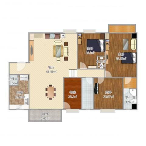 倚翠园4室1厅3卫1厨221.00㎡户型图