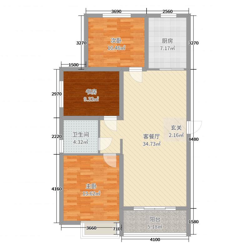 昊和沁园106.00㎡32#户型3室3厅1卫1厨