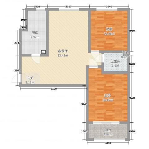 香榭丽都2室2厅1卫1厨77.73㎡户型图