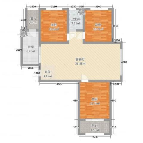 香榭丽都3室2厅1卫1厨90.73㎡户型图