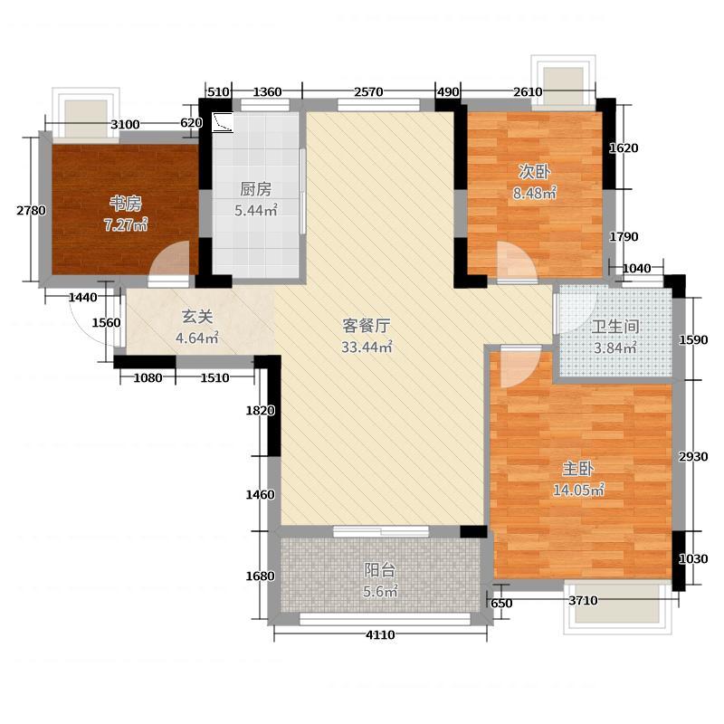 紫阳楚世家100.00㎡一期3号楼C户型3室3厅1卫1厨