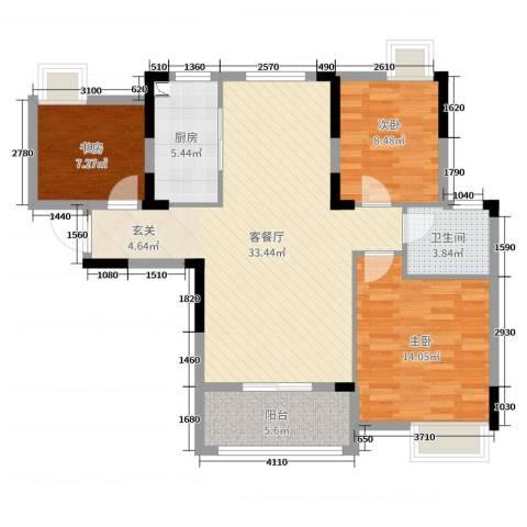 紫阳楚世家3室2厅1卫1厨100.00㎡户型图