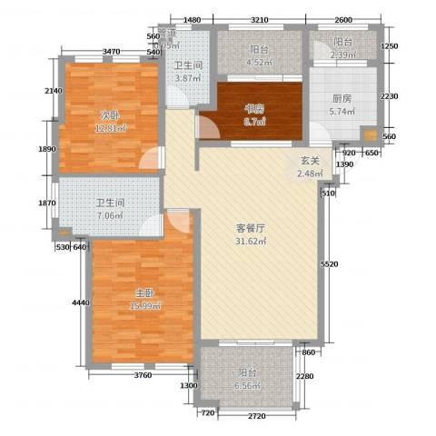 西西那堤三期3室2厅2卫1厨122.00㎡户型图