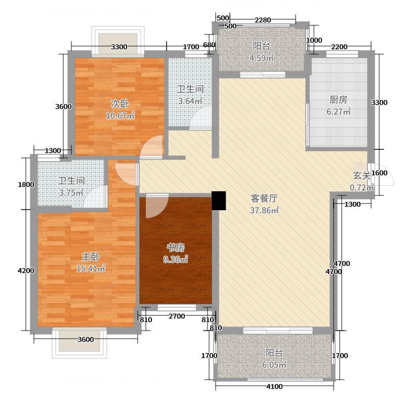 金地花园132.00㎡一期C1/C3户型3室3厅2卫1厨