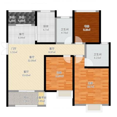旭辉苹果乐园3室1厅2卫1厨121.00㎡户型图