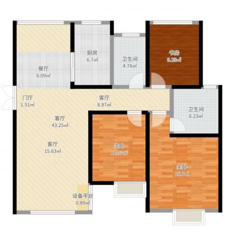 旭辉苹果乐园3室1厅2卫1厨123.00㎡户型图