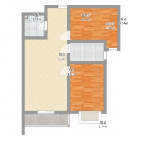 翠堤春晓四号楼2室2厅1卫1厨90.00㎡户型图