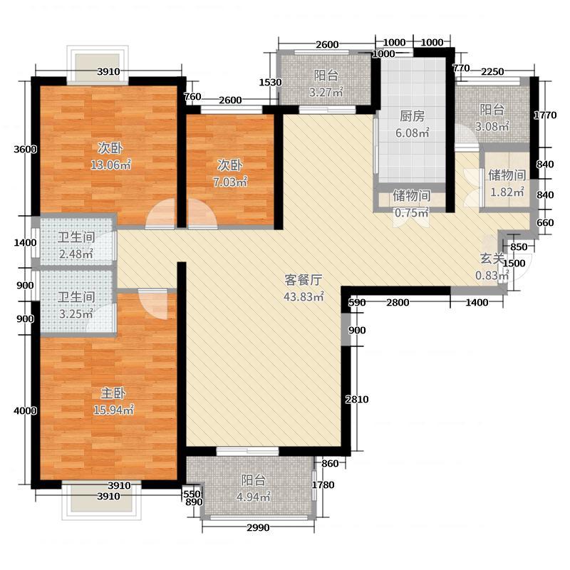 名流印象140.32㎡13#C3户型3室3厅2卫1厨