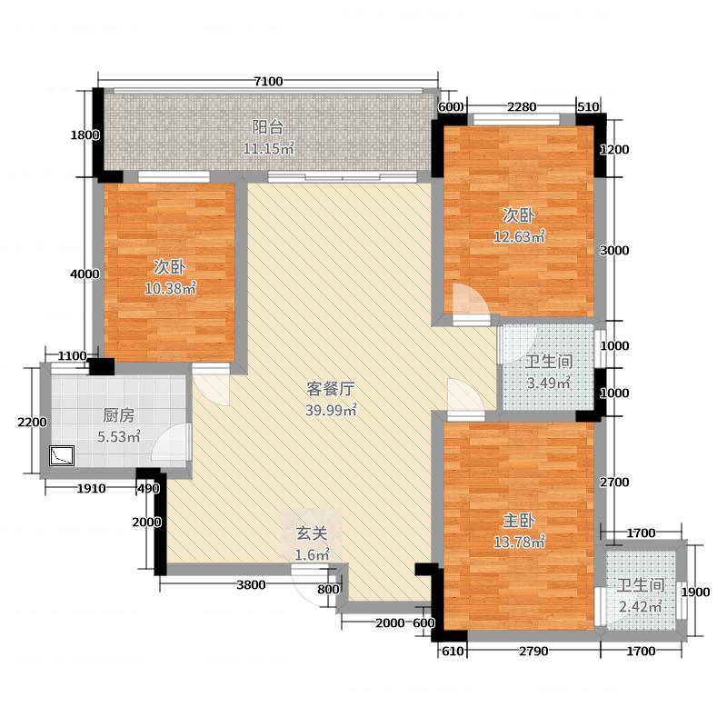 鸿申翡翠城131.06㎡7号楼/01、02户型3室3厅2卫1厨