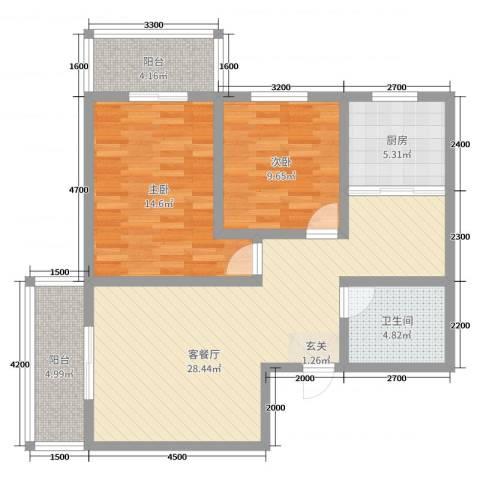 金穗西苑6#楼2室2厅1卫1厨98.00㎡户型图