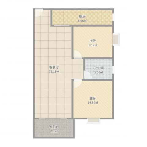 水禾园一二期2室2厅1卫1厨109.00㎡户型图