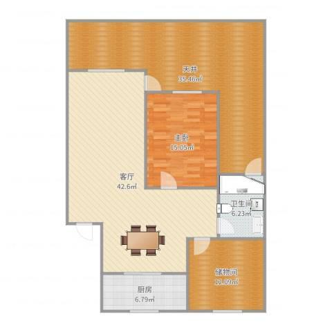 东波苑1室1厅1卫1厨148.00㎡户型图