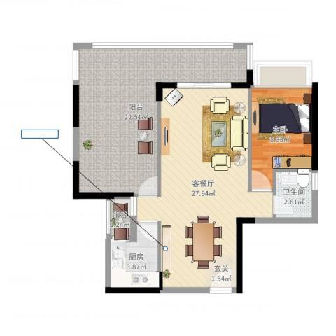 三远大爱城1室2厅1卫1厨83.00㎡户型图