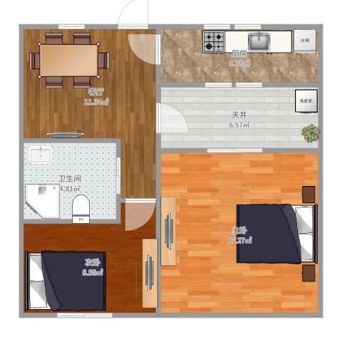 泾东一村2室1厅1卫1厨68.00㎡户型图