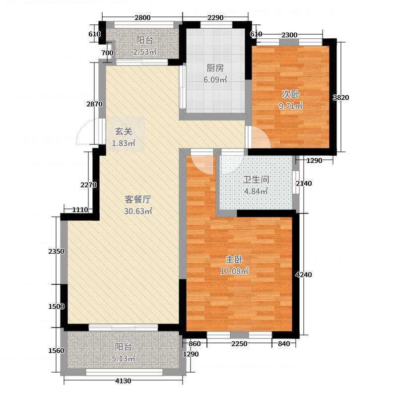 浙信上河95.00㎡9号楼边户户型2室2厅1卫1厨