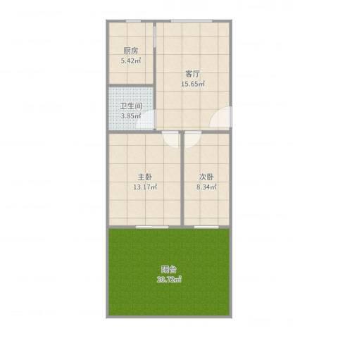 泾东一村2室1厅1卫1厨84.00㎡户型图